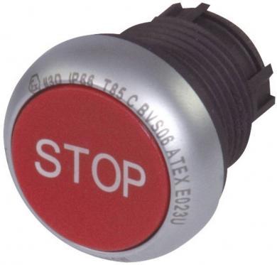 Buton plat bistabil, IP 67, 29.7 x 10 mm, marcare O, roşu