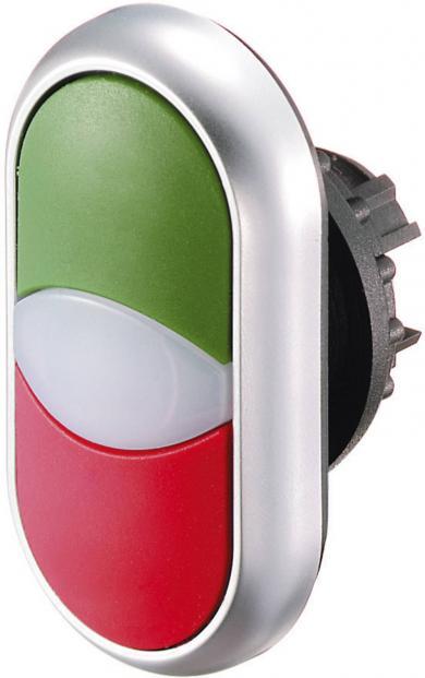 Buton dublu M22-DDL-GR-X1/X0, IP 66, marcare I / O, verde/roşu