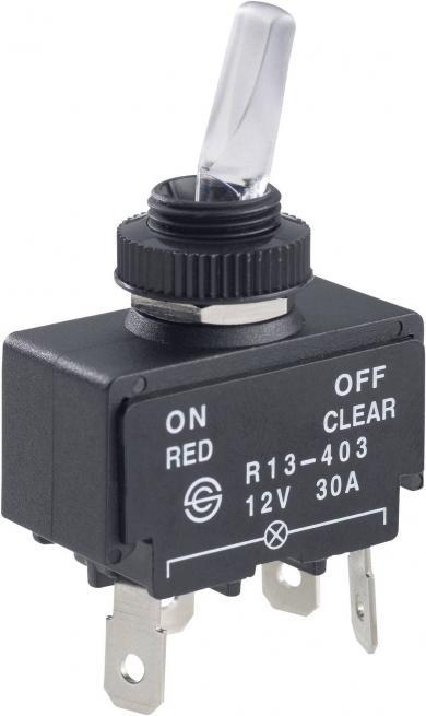Întrerupător auto cu manetă tip R13-403 Red/Natural, 30 A, 12 V/DC, 1 x ON/OFF