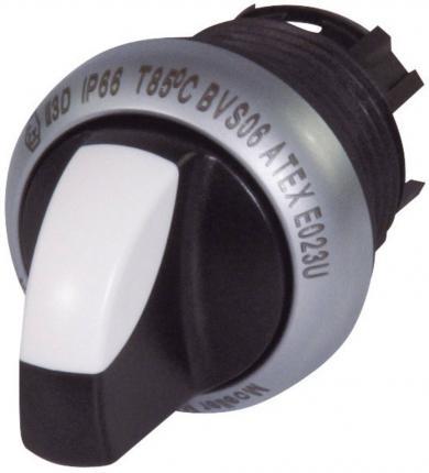 Buton selector iluminat, bistabil, M22-WRLK3-W, 3 poziţii, alb
