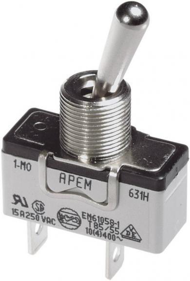 Întrerupător cu manetă metal pentru curent mare  637H/2, 250 V/AC, 10 A, 1 x (ON)/OFF/(ON)