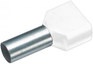 Inele de etanşare Duo izolate cu guler din plastic, 2 x 0,5 mm² x 8 mm, cu două intrări, alb, Vogt Verbindungstechnik