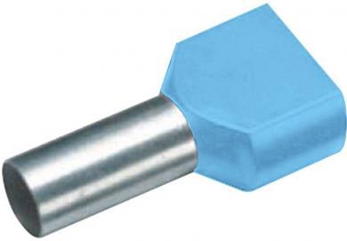 Inele de etanşare Duo izolate cu guler din plastic, 2 x 0,75 mm² x 8 mm, cu două intrări, albastru deschis, Vogt Verbindungstechnik