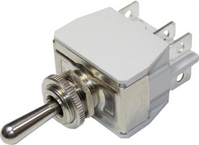 Întrerupător cu manetă metal pentru curent mare  649H/2, 250 V/AC, 10 A, 2 x ON/OFF/ON