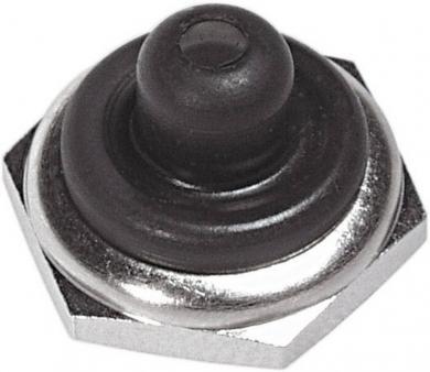 Capişon etanş pentru întrerupătoare cu manetă tip U1600, semi, cu piuliţă zimţată, dimensiuni filet 11.9 x 32 NS, nichelat/negru