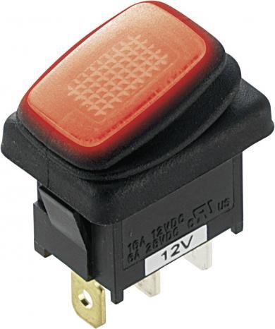 Întrerupător Rocker auto 16 A tip R13-66B8, 1 x ON/OFF, iluminare cu led roşu