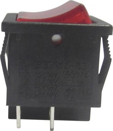 Întrerupător Rocker 16 A tip R13-33B-02RT, ON/OFF, buton roşu