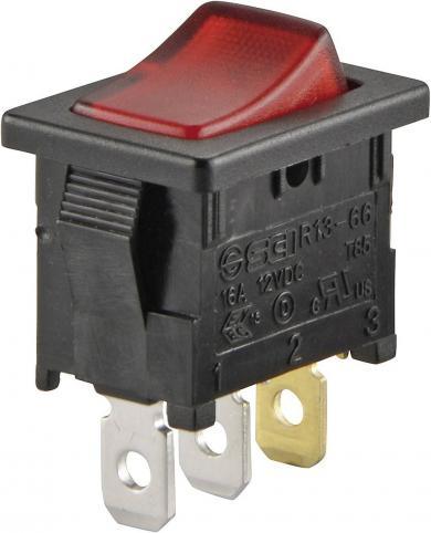 Întrerupător basculant SCI tip Rocker 10 A R13-66B-02 LED 12V/DC ON/OFF 250 V/AC 6 A