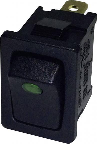 Întrerupător basculant SCI tip Rocker 10 A R13-66B2-02 GREEN (250V/AC 150KR) ON/OFF 250 V/AC 6 A