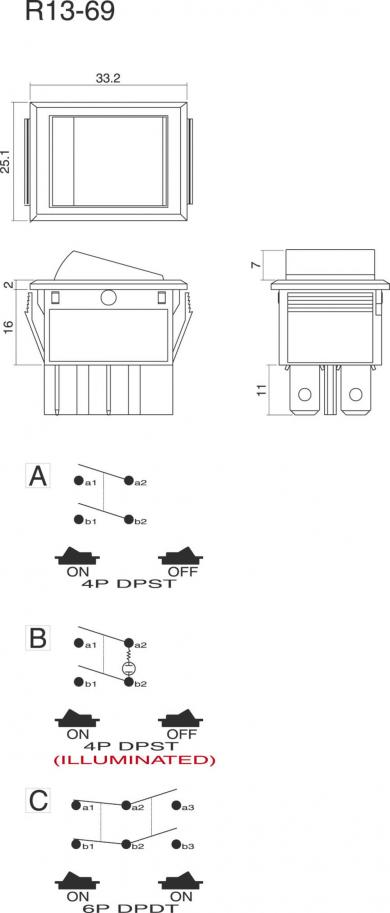 Întrerupător Rocker 16 A tip R13-69B-01 GALBEN, 2 x ON/OFF, buton galben