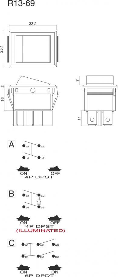 Întrerupător Rocker 16 A tip R13-69C-01, 2 x ON/OFF, buton negru