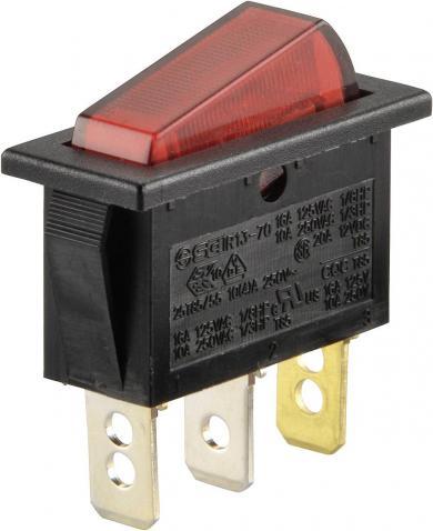 Întrerupător basculant SCI tip Rocker 16 A R13-70B-01 RED (250V/AC 150KR) ON/OFF 250 V/AC 10 A