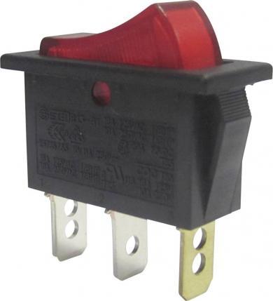 Întrerupător basculant SCI tip Rocker 10 A R13-91B-01 RED (250V/AC 150KR) ON/OFF 250 V/AC 10 A