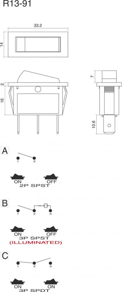 Întrerupător basculant SCI tip Rocker 16 A R13-91B-01 GREEN (250V/AC 150KR)  ON/OFF 250 V/AC 10 A