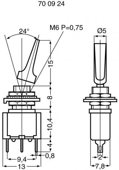 Întrerupător basculant MIYAMA cu manetă plată, miniatură, MS 500 A-MF SILVER 1 x ON/ON 250 V/AC 3 A
