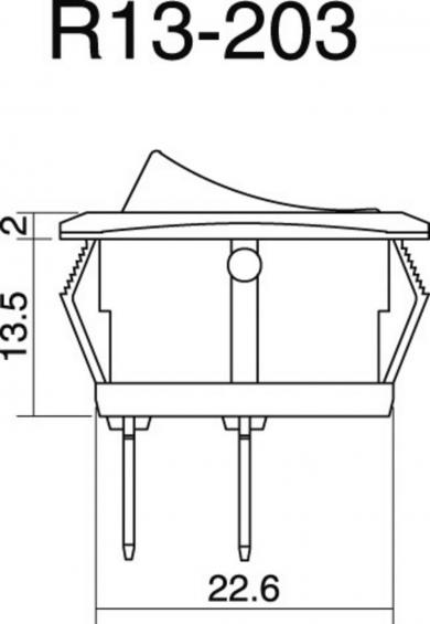 Întrerupător basculant auto SCI, 25 A R13-203L-SQ ON/OFF 12 V/DC 25 A