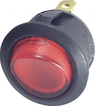 Întrerupător Rocker 16 A tip R13-208B-02 RED (250 V/AC 150 KR), ON/OFF, roşu, iluminare cu bec, 250 V/AC