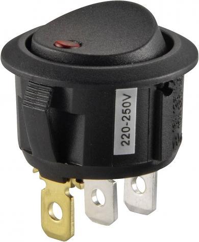 Întrerupător Rocker 16 A tip R13-208B2-02 RED (250 V/AC 150 KR), ON/OFF, negru cu iluminare de fundal roşie, iluminare cu bec, 250 V/AC