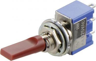 Întrerupător basculant MIYAMA cu manetă plată, miniatură, MS 500 H-MF SILVER 2 x ON/OFF/ON 250 V/AC 3 A