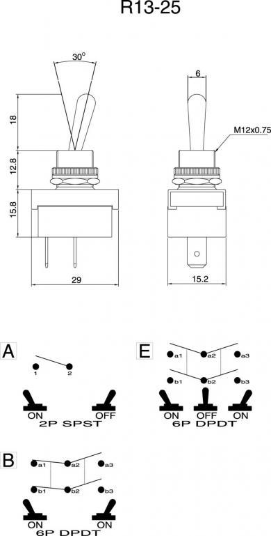 Întrerupător basculant SCI , 10 A R13-25E1-05 2 x ON/OFF/ON 250 V/AC 6 A