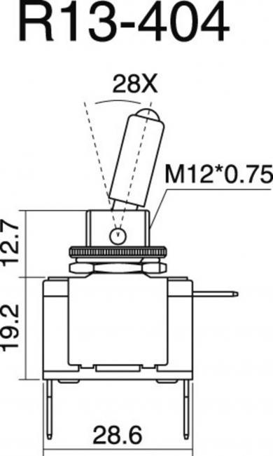 Întrerupător basculant auto SCI, 20 A R13-404-SQ 1 x ON/OFF 12 V/DC 20 A