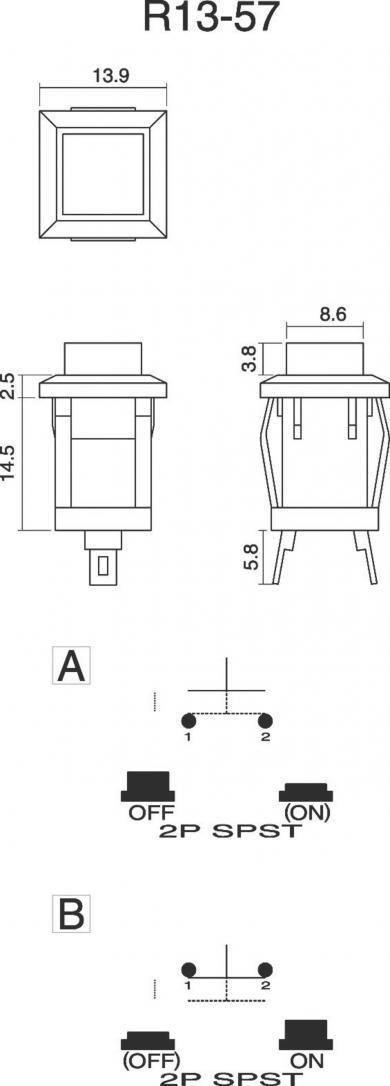 Întrerupător cu buton R13-57A-05 YELLOW ACTUATOR 1 A/125 V/AC; 0,5 A/250 V/AC, 1 x (ON)/OFF, culoare buton galben