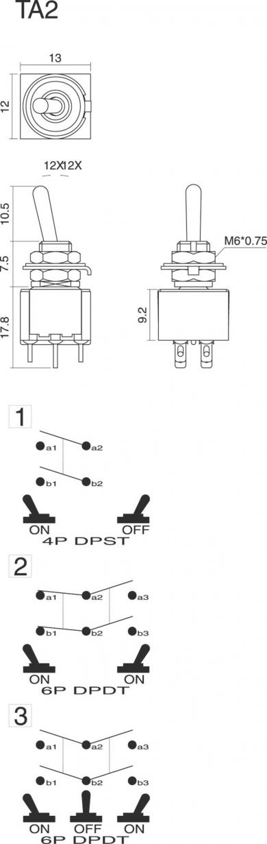Întrerupător basculant SCI, 6 A TA203G1 2 x ON/OFF/ON 250 V/AC 3 A