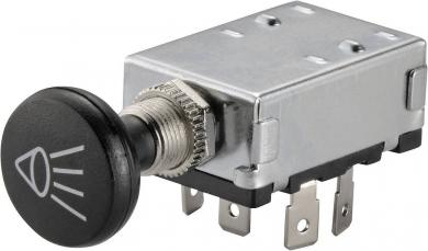 Întrerupător auto acţionat prin tragere A3-20B-SQ, OFF/ON/ON, 30 A, 12 V/DC, Ø montare 12.2 mm, conexiune prin conector plat