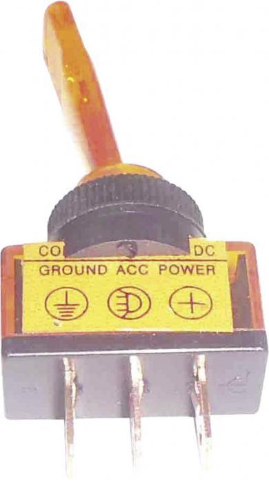 Întrerupător auto cu manetă şi iluminare tip ASW-13D 20, 20 A, 12 V/DC, 1 x ON/OFF, galben