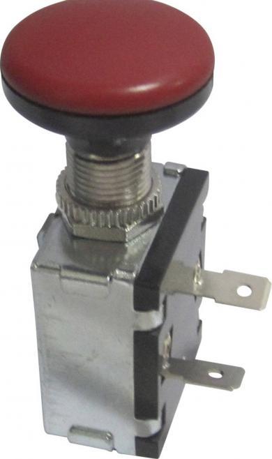 Întrerupător auto acţionat prin tragere A3-26B-SQ RED, OFF/ON, 30 A, 12 V/DC, Ø montare 12.2 mm, conexiune prin terminale cu şurub, buton negru/roşu cu iluminare de fundal
