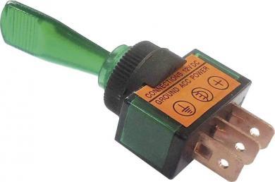 Întrerupător auto cu manetă şi iluminare tip ASW-13D 20, 20 A, 12 V/DC, 1 x ON/OFF, verde