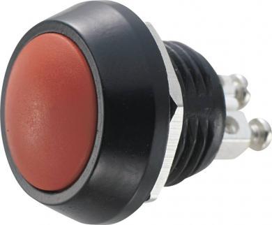Întrerupător anti-vandalism 12 mm, IP 65, aliaj Zn-Al, buton roşu din PBT, culoare carcasă negru