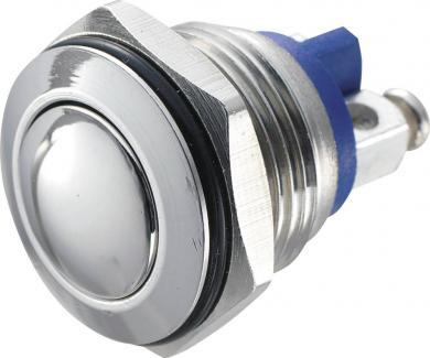Întrerupător anti-vandalism 16 mm, IP 65, oţel inoxidabil, buton convex, conexiune prin terminale cu şurub