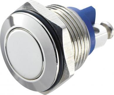 Întrerupător anti-vandalism 16 mm, IP 65, alamă nichelată, buton plat, conexiune prin terminale cu şurub