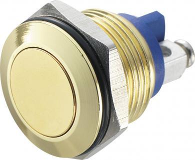Întrerupător anti-vandalism 16 mm, IP 65, alamă placată cu aur, buton plat, conexiune prin terminale cu şurub