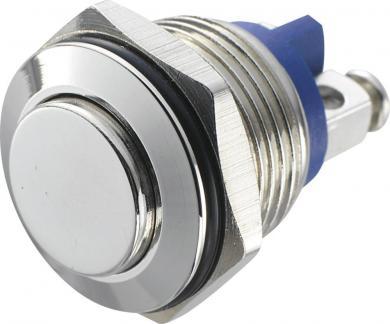 Întrerupător anti-vandalism 16 mm, IP 65, alamă nichelată, buton în relief, conexiune prin terminale cu şurub