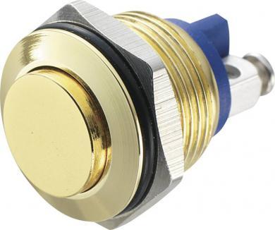 Întrerupător anti-vandalism 16 mm, IP 65, alamă placată cu aur, buton în relief, conexiune prin terminale cu şurub