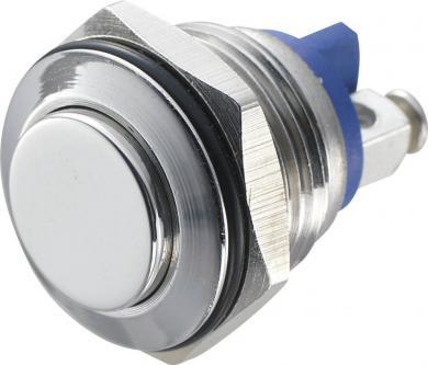 Întrerupător anti-vandalism 16 mm, IP 65, oţel inoxidabil, buton în relief, conexiune prin terminale cu şurub