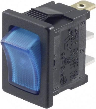 Întrerupător basculant SCI tip Rocker 10 A R13-66B-02 BL LED 12 V ON/OFF 250 V/AC 6 A