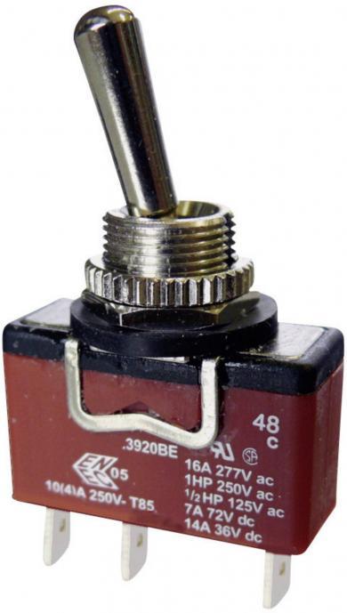Întrerupător cu manetă tip C3920BEAAA, 10 A, 250 V/AC, conexiune prin conector plat 6,35 mm, 1 x ON/OFF/ON