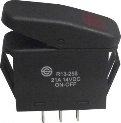 Întrerupător Rocker 21 A tip R13-258B B/R ROŞU, ON/OFF, iluminare cu led roşu (Ub 12 V/DC), buton negru cu iluminare de fundal