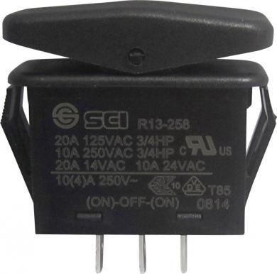 Întrerupător Rocker 21 A tip R13-258B B/R NEGRU, (ON)/OFF/(ON), buton negru
