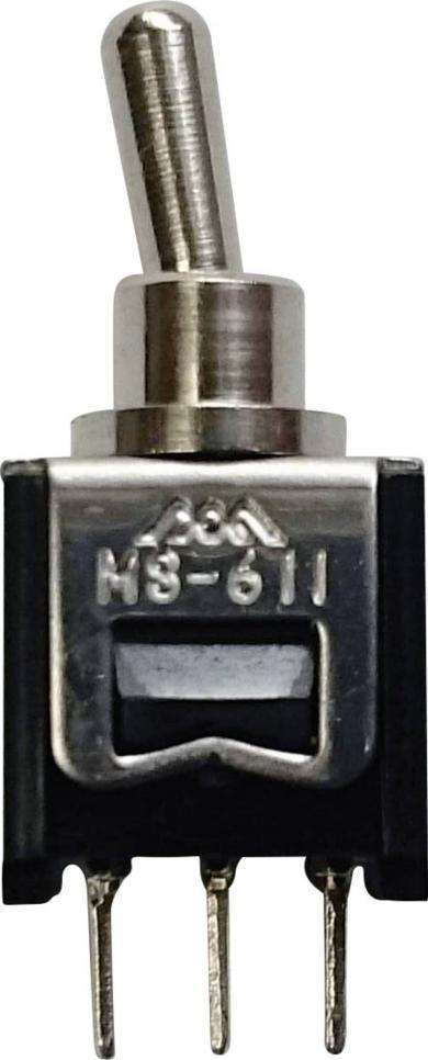 Întrerupător micro-miniatură, montare pe circuite imprimate, 611A 1 x ON/ON 250 V/AC 0,15 A