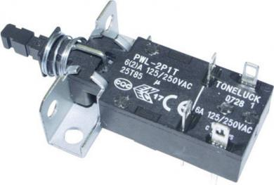Întrerupător cu buton 250 V/AC, 6 A, 2 x OFF/ON, PWL-2P1TL-6SASHA