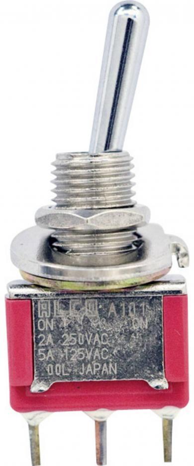 Mini-întrerupător cu manetă Gemini A tip 4-1825136-5, 2 A, 250 V/AC, 1 x ON/ON, conexiune prin pini de lipire (drepţi), material contact argintat