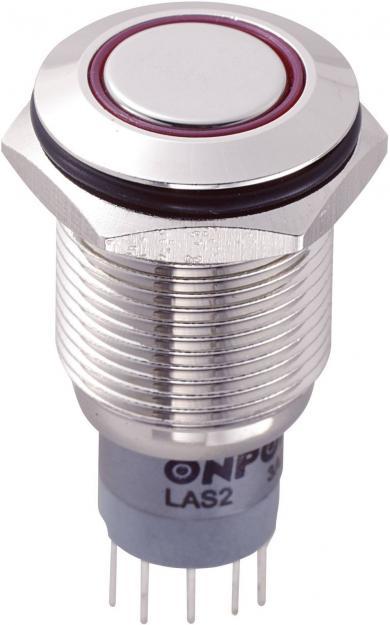 Întrerupător anti-vandalism 16 mm, iluminare 12V/inel, IP 67, 2 x ON/(ON), material alamă nichelată, buton plat, conexiune prin lipire, culoare led roşu