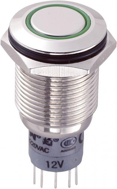Întrerupător anti-vandalism 16 mm, iluminare 12V/inel, IP 67, 2 x ON/(ON), material alamă nichelată, buton plat, conexiune prin lipire, culoare led verde