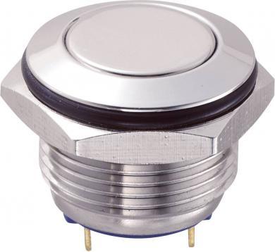 Întrerupător anti-vandalism 16 mm, IP 65, oţel inoxidabil, buton plat, conexiune prin pini de lipire