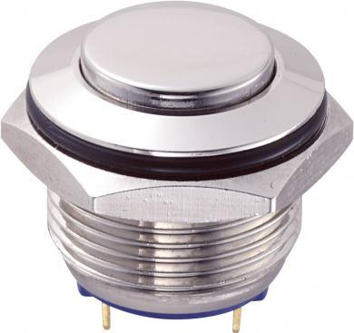 Întrerupător anti-vandalism 16 mm, IP 65, alamă nichelată, buton în relief, conexiune prin pini de lipire