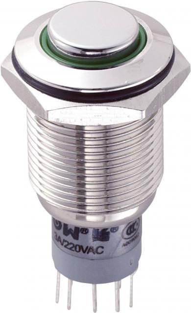 Întrerupător 16 mm anti-vandalism, iluminat, 250 V/AC 3 A